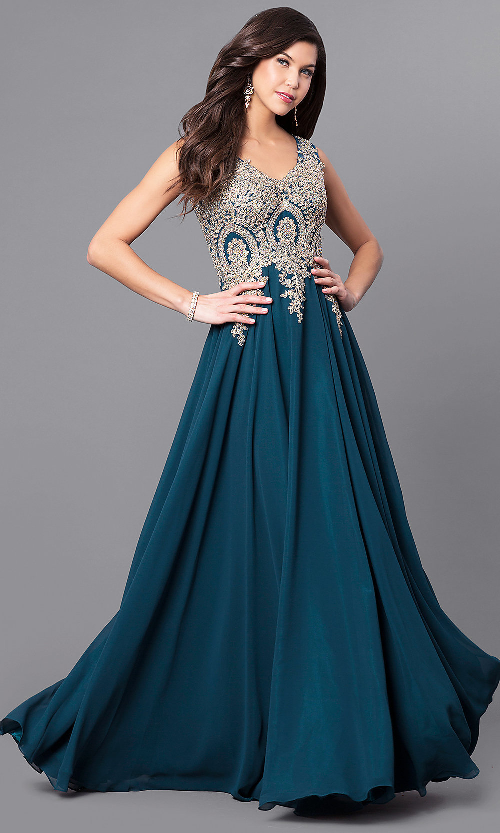 laceapplique long chiffon prom dress promgirl