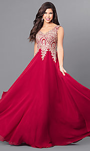 Image of long v-neck prom dress with beaded lace applique. Style: FB-GL2311 Detail Image 1