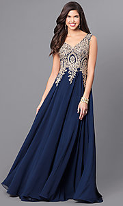 Image of long v-neck prom dress with beaded lace applique. Style: FB-GL2311 Detail Image 2