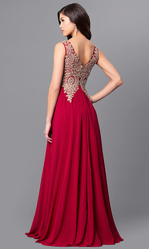 Image of long v-neck prom dress with beaded lace applique. Style: FB-GL2311 Back Image