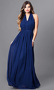 Image of v-neck long chiffon prom dress with halter bow. Style: FB-GL2362 Detail Image 1