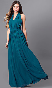 Image of v-neck long chiffon prom dress with halter bow. Style: FB-GL2362 Front Image