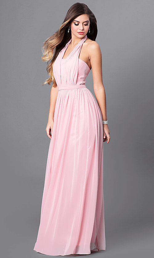 Image of v-neck long chiffon prom dress with halter bow. Style: FB-GL2362 Detail Image 2