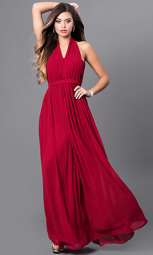 Image of v-neck long chiffon prom dress with halter bow. Style: FB-GL2362 Detail Image 3
