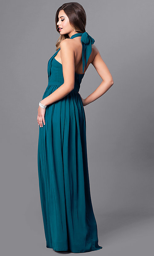 Image of v-neck long chiffon prom dress with halter bow. Style: FB-GL2362 Back Image
