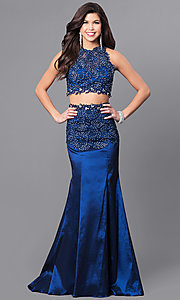 Two-Piece Long Prom Dress with Lace and Jewels