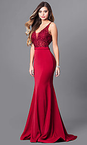 Long Illusion V-Neck Bodice Prom Dress by Elizabeth K