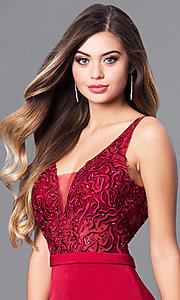 Image of long illusion v-neck bodice prom dress by Elizabeth K. Style: FB-GL2372 Detail Image 1