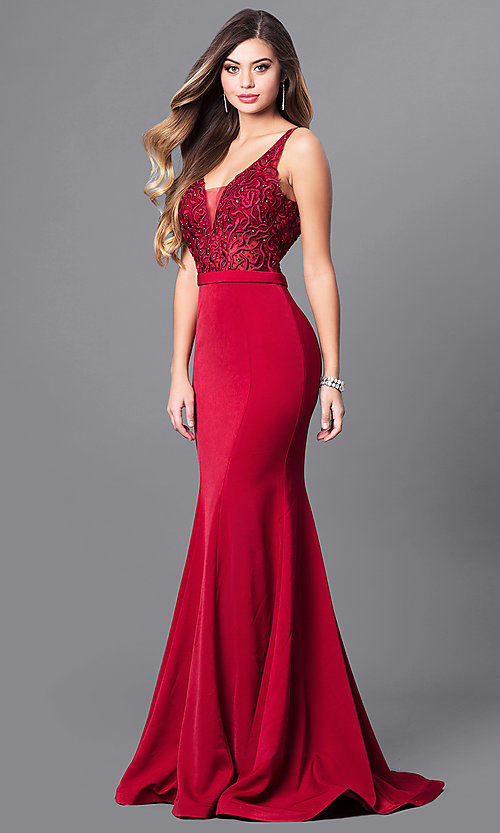 Image of long illusion v-neck bodice prom dress by Elizabeth K. Style: FB-GL2372 Front Image