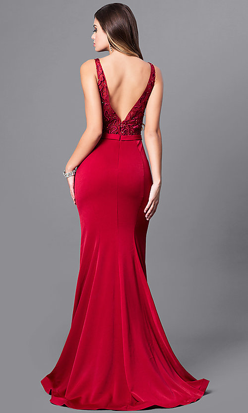 Image of long illusion v-neck bodice prom dress by Elizabeth K. Style: FB-GL2372 Back Image