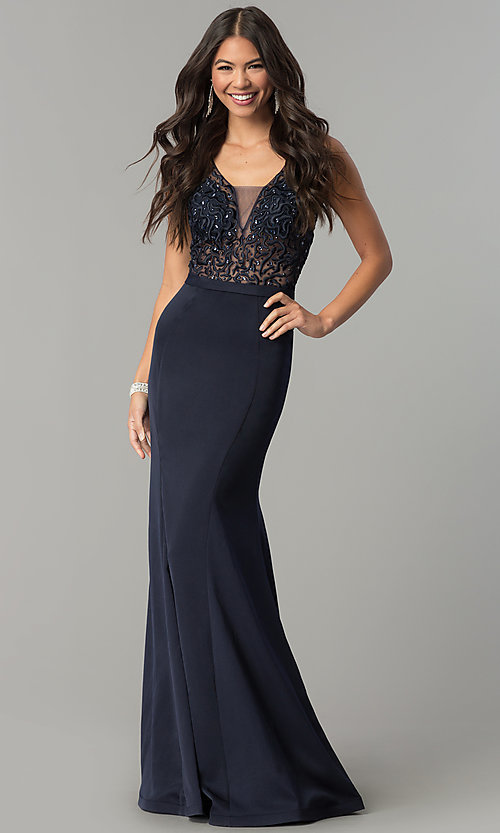 Image of long illusion v-neck bodice prom dress by Elizabeth K. Style: FB-GL2372 Detail Image 2