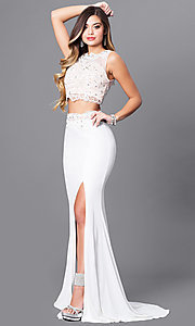 Two-Piece Prom Dress with Embellished Lace Top
