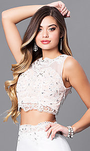 Image of two-piece ivory prom dress with illusion-lace top. Style: FB-GL2373 Detail Image 1