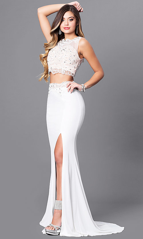 Image of two-piece ivory prom dress with illusion-lace top. Style: FB-GL2373 Front Image