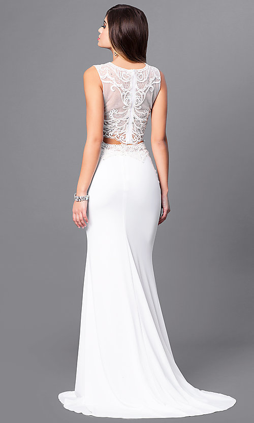 Image of two-piece ivory prom dress with illusion-lace top. Style: FB-GL2373 Back Image