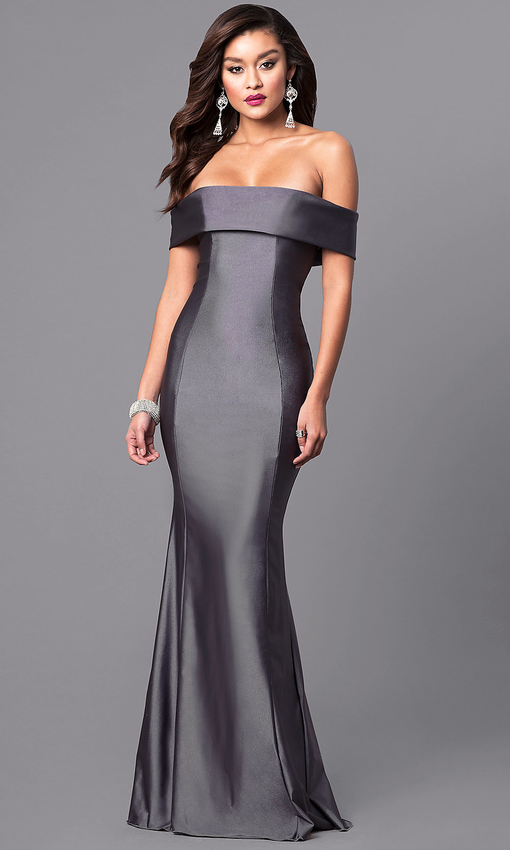 bea69d9065 Long Off-the-Shoulder Atria Prom Dress with Train