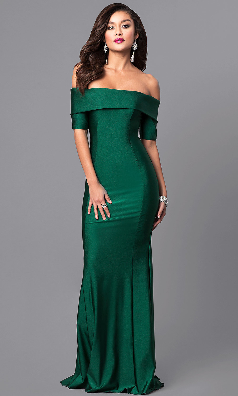 Off-the-Shoulder Prom Dress with Sleeves - PromGirl
