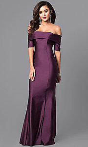 Image of long off-the-shoulder prom dress with train. Style: AT-L5081 Detail Image 2