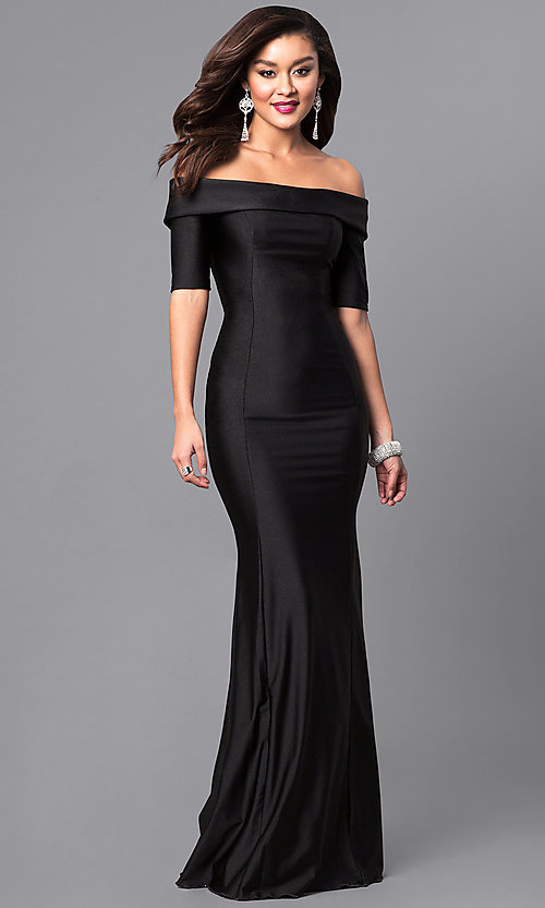 Image of long off-the-shoulder prom dress with train. Style: AT-L5081 Detail Image 1
