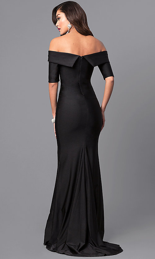 Image of long off-the-shoulder prom dress with train. Style: AT-L5081 Back Image