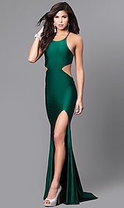 Image of high-neck long Atria prom dress with open back. Style: AT-L5067 Front Image
