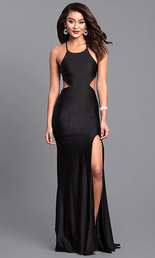Image of high-neck long Atria prom dress with open back. Style: AT-L5067 Detail Image 2