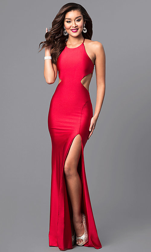 Image of high-neck long Atria prom dress with open back. Style: AT-L5067 Detail Image 1