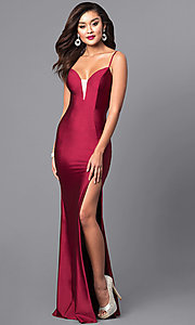Long Open-Back Sweetheart Prom Dress with Side Slit