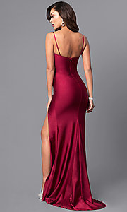 Image of long open-back sweetheart prom dress with side slit. Style: AT-L5061 Back Image
