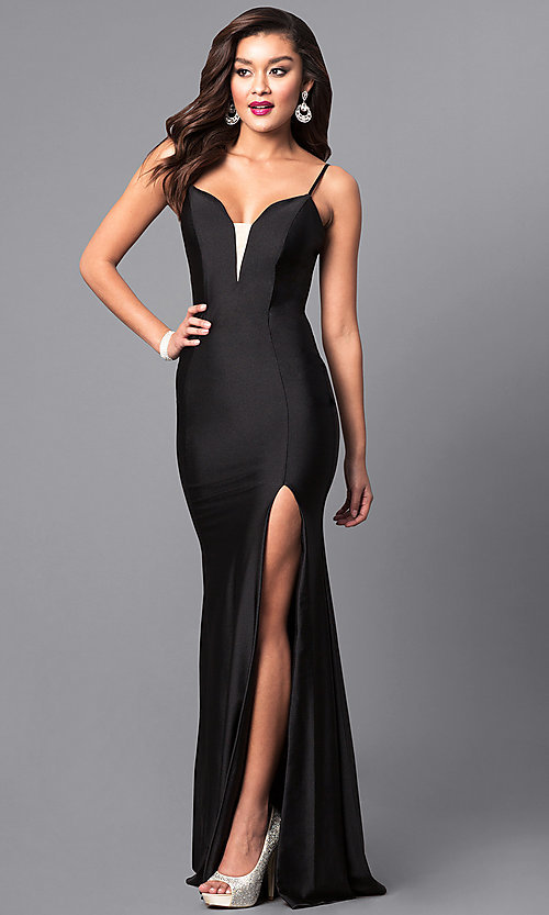 Image of long open-back sweetheart prom dress with side slit. Style: AT-L5061 Detail Image 2