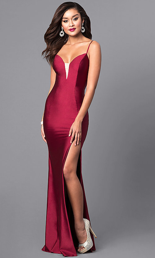 Image of long open-back sweetheart prom dress with side slit. Style: AT-L5061 Front Image