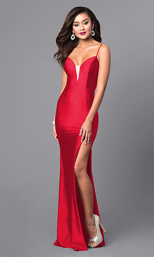 Image of long open-back sweetheart prom dress with side slit. Style: AT-L5061 Detail Image 1
