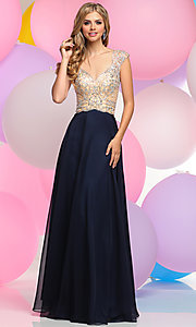 Long Prom Dress with Cap Sleeve Beaded Bodice