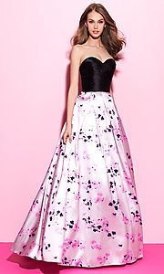 Long Print A-Line Strapless Prom Dress