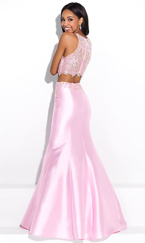 Image of illusion-sweetheart two-piece mermaid prom dress. Style: NM-17-212 Back Image