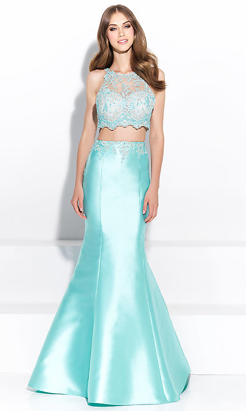 Image of illusion-sweetheart two-piece mermaid prom dress. Style: NM-17-212 Detail Image 1