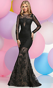 Long Sleeve Prom Dress with Lace Applique Trumpet Skirt