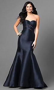 Long Mermaid Prom Dress with Sheer Waist