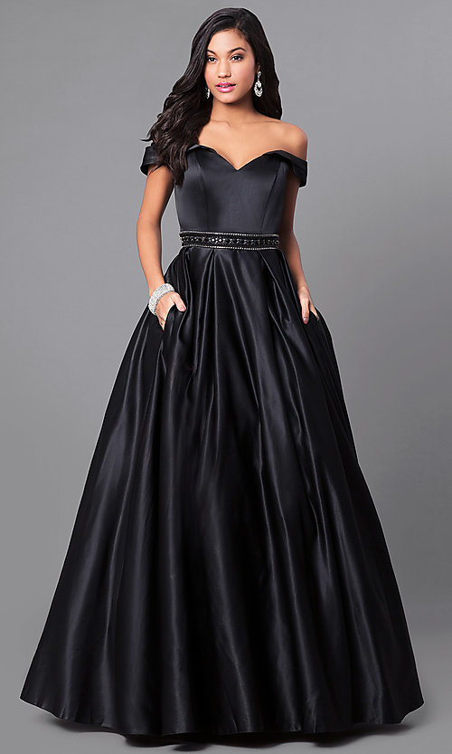 Image of long a-line off-the-shoulder prom dress in satin. Style: PO-7936 Front Image