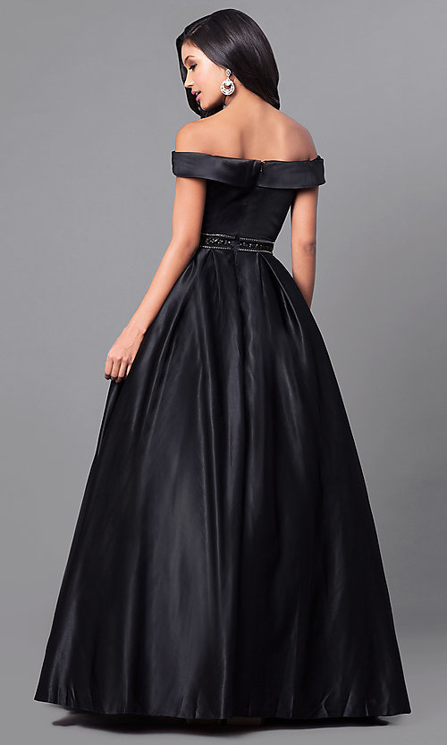Image of long a-line off-the-shoulder prom dress in satin. Style: PO-7936 Back Image