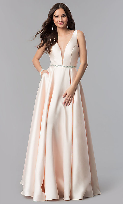 Image of v-neck long a-line satin prom dress with pockets.  Style: PO-7916 Front Image