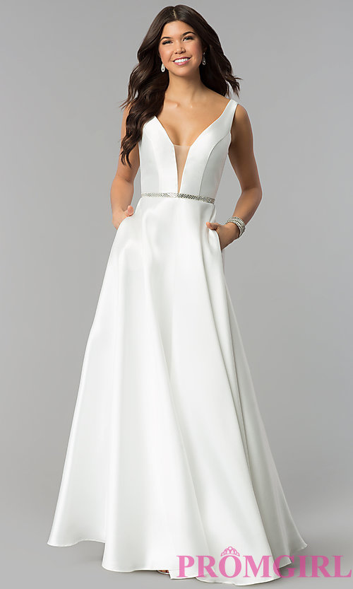 Image of v-neck long a-line satin prom dress with pockets.  Style: PO-7916 Detail Image 3