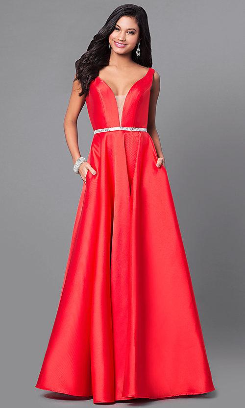 Image of v-neck long a-line satin prom dress with pockets.  Style: PO-7916 Detail Image 2