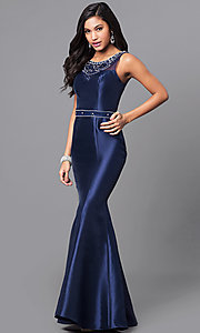 Long Prom Dress with Jeweled Illusion Neckline