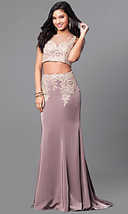 Two-Piece Illusion Sweetheart Prom Dress