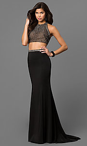 Two-Piece Prom Dress with High Neck Top and Beads