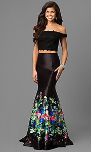 Two-Piece Prom Dress with Floral Print Mermaid Skirt