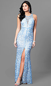 Image of lace sleeveless light blue prom dress with slit. Style: LP-22888-LB Front Image