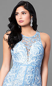 Image of lace sleeveless light blue prom dress with slit. Style: LP-22888-LB Detail Image 1
