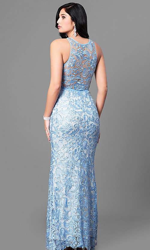 Image of lace sleeveless light blue prom dress with slit. Style: LP-22888-LB Back Image